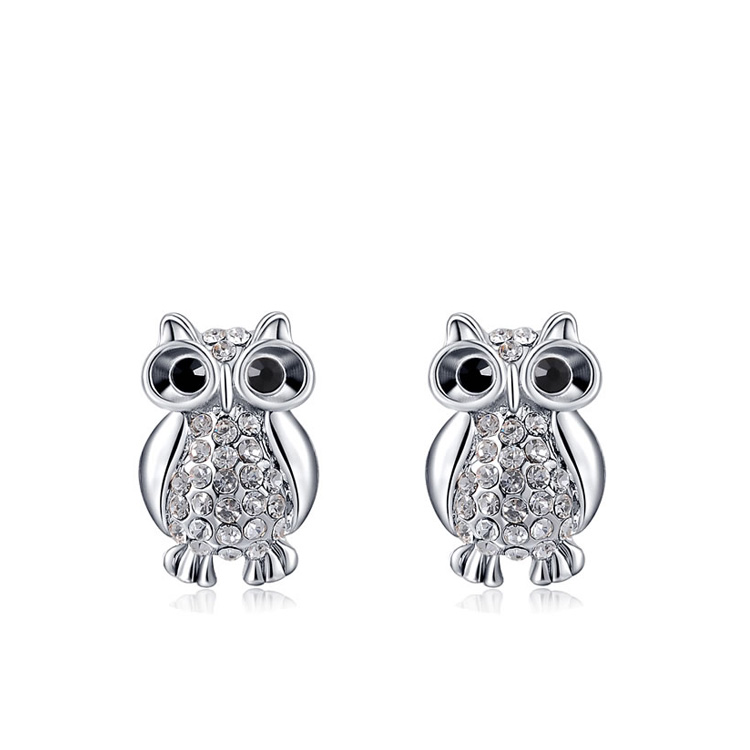 Black Eyes Owl Stud Withe Gold Earrings