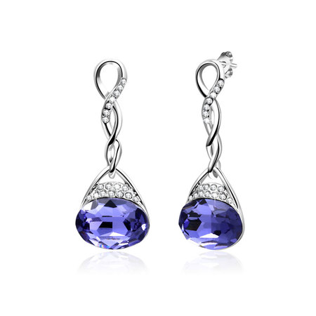 Shining Silver Sapphire Twist Drop Earrings
