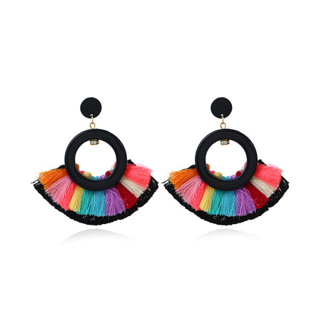Sector Double Layer Drop Tassel Earrings