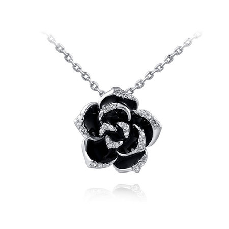 Black Rose Pendant Necklace