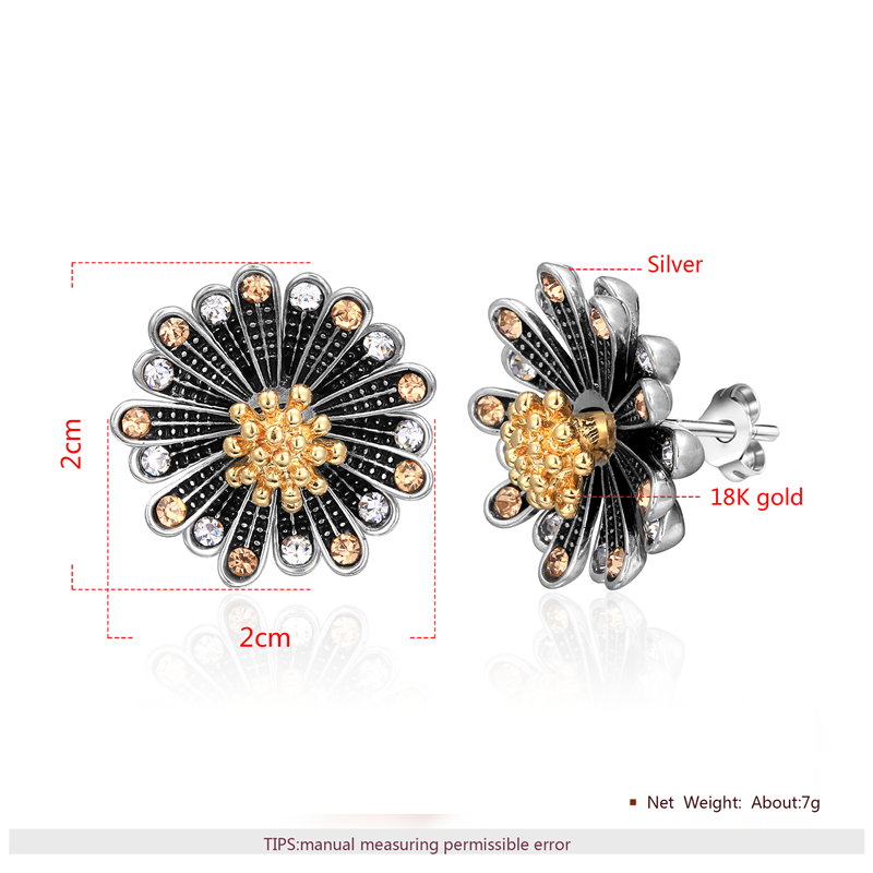 Chrysanthemum Two-Tone Set - Earrings