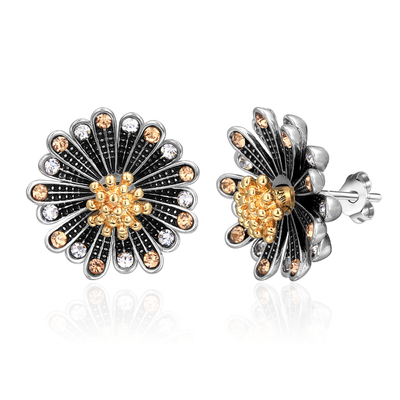 Chrysanthemum Two-Tone Stud Earrings