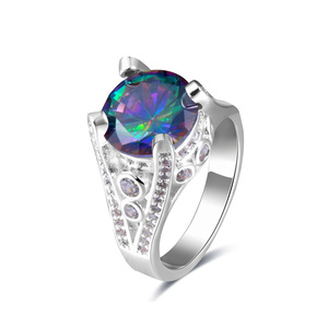 Tower Colored Round Diamond Ring