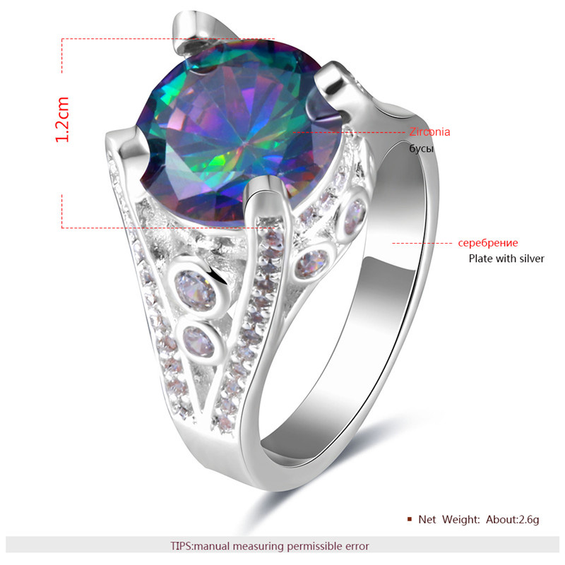Tower Colored Round Diamond Silver Ring