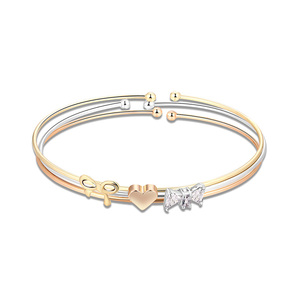 Heart and Bowknot Three-Color Bangle