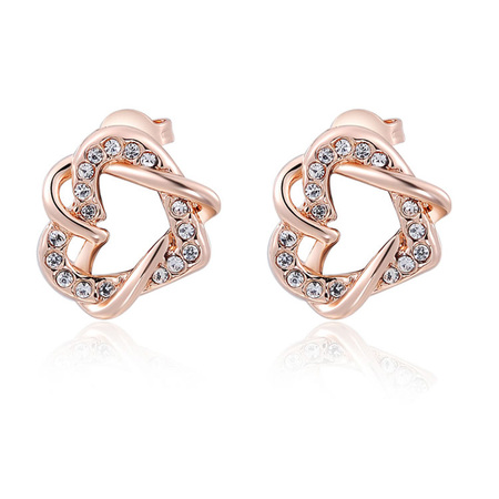 Double Heart Winding Earrings - Rose