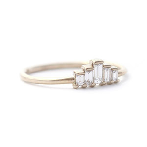 Five Rectangular Diamond 18K Ring