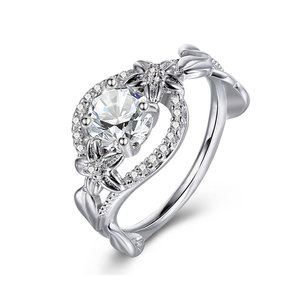 Blooming Flower White Gold Diamond Ring