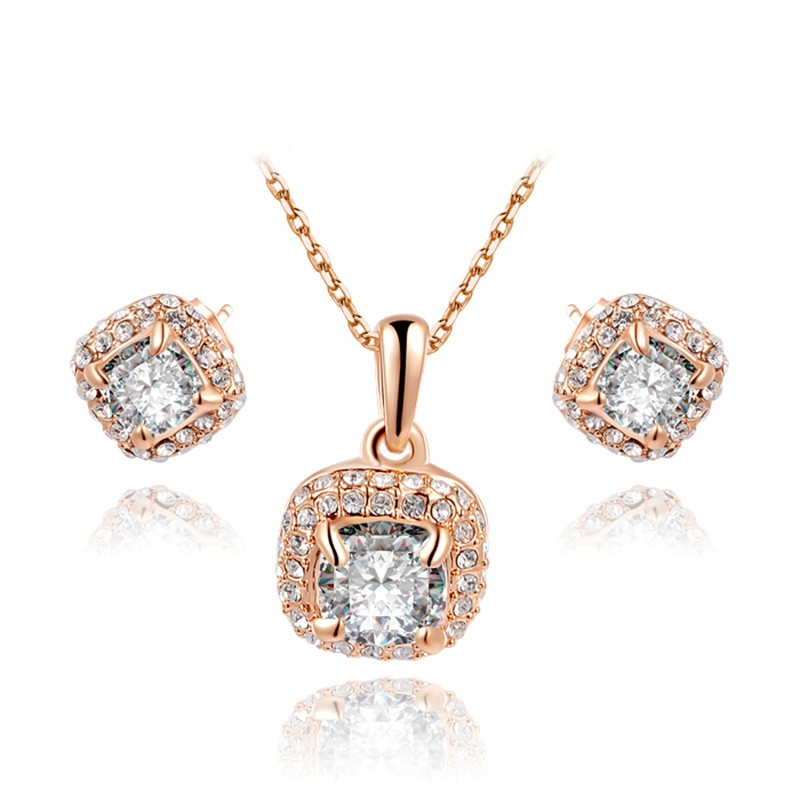 Rounded Corner Square Rose Gold Set