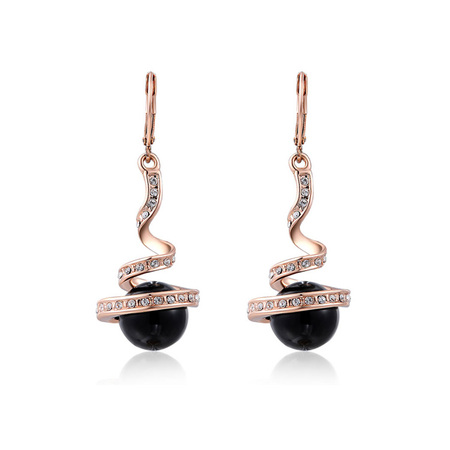 Black Pearl Rose Gold Drop Earrings