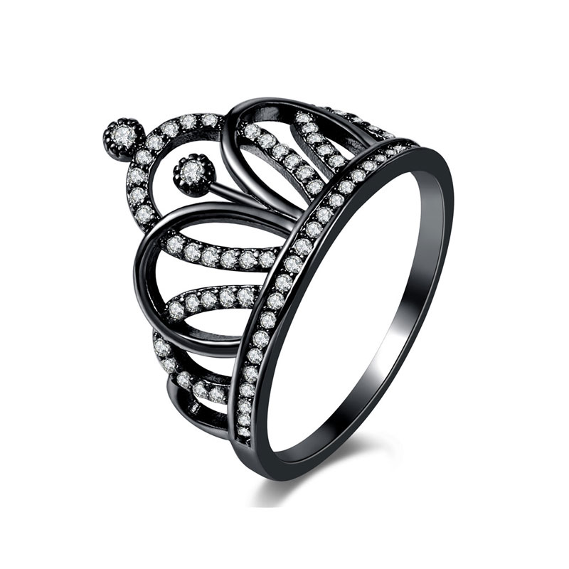 Crown Gun Black Diamond Ring