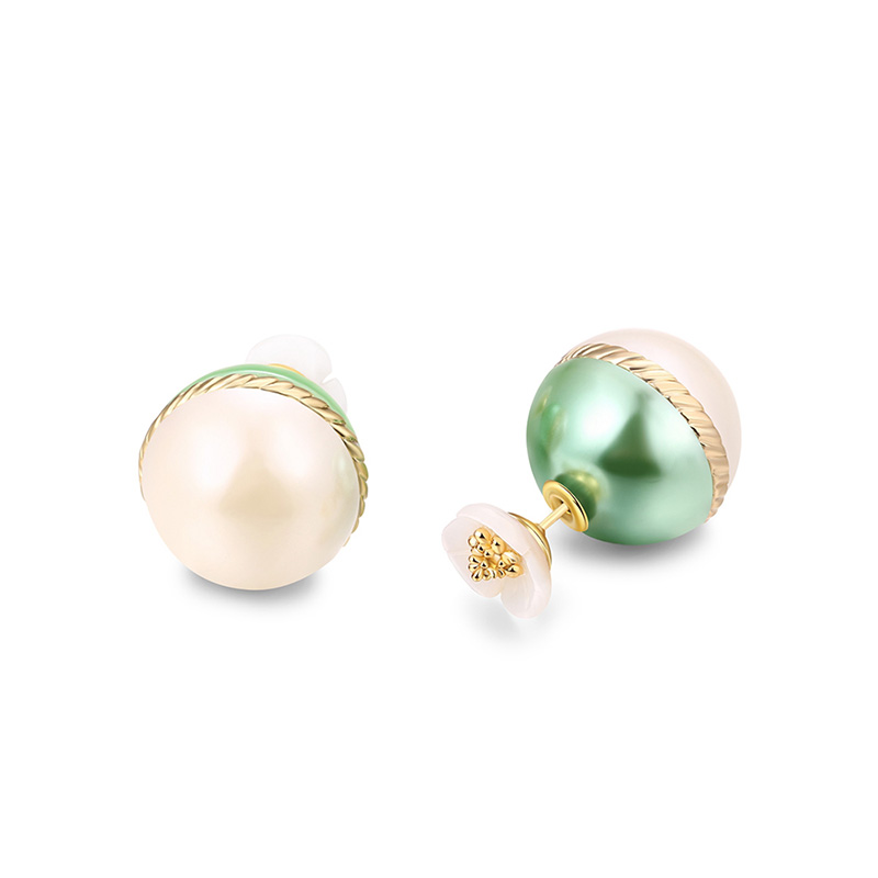 Classic Green Bead Stud Earrings
