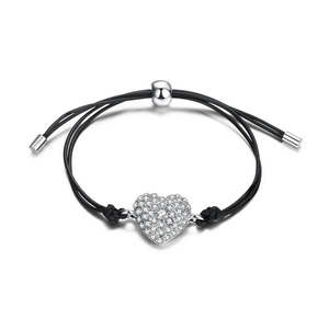 Diamond Heart Leather Bracelet - White