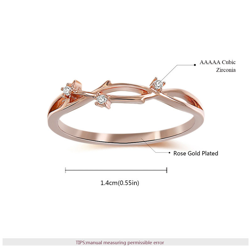 Sika Deer Antlers Rose Gold Diamond Ring