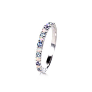 Opal & Zirconia Alternate White Gold Ring