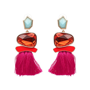 Ethical Style Rose Tassel Earrings - Ruby