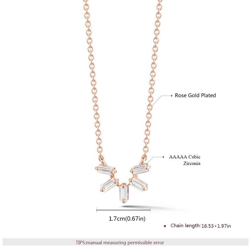 Originality Five Diamond Rose Gold Necklace