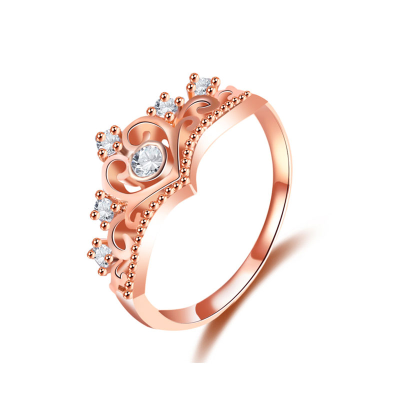 Crown White Diamond Rose Gold Ring