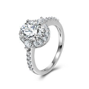 Classic Style Halo Diamond White Gold Ring