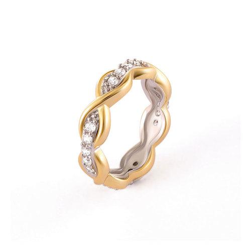 Infinity Beaded Diamond Two-Tone Ring