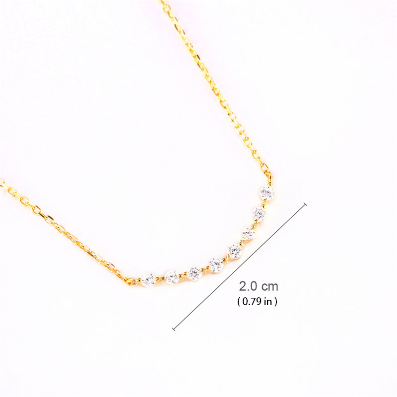 Arc-Shaped Single Row Diamond Pendant Sterling Silver Necklace
