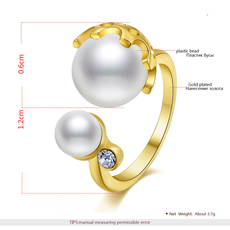 Double Bead Glow 18K Gold Ring
