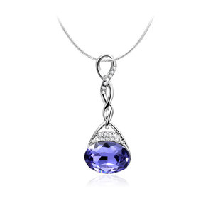 Shining Silver Sapphire Twist Necklace