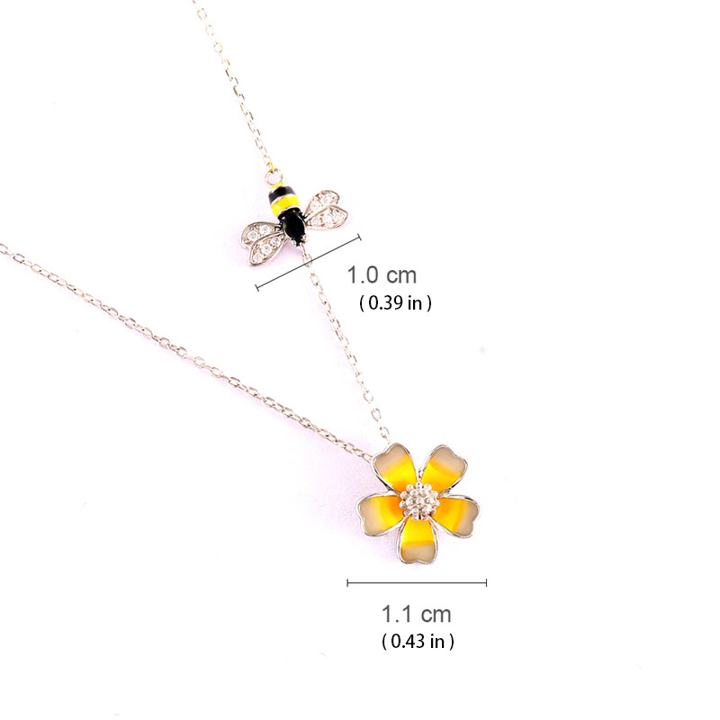 Bee & Flower 925 Sterling Silver Pendant Necklace