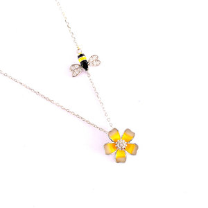 Bee & Flower Sterling Silver Pendant