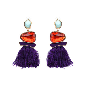 Ethical Style Purple Tassel Earrings - Ruby