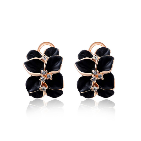 Black Petals Rose Gold Clip Earrings