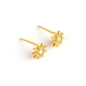 Ins Sunflower Opal 18K Gold Stud Earrings
