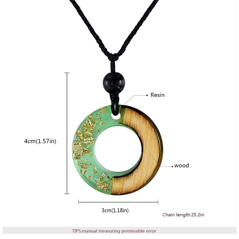 Circle Green Resin & Wood Gold Foil Necklace
