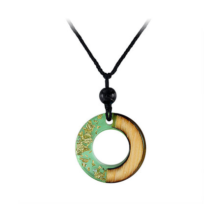 Circle Green Resin Gold Foil Necklace