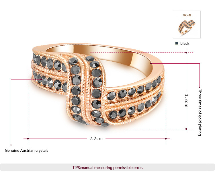 Double Row Diamond Tache Rose Gold Ring