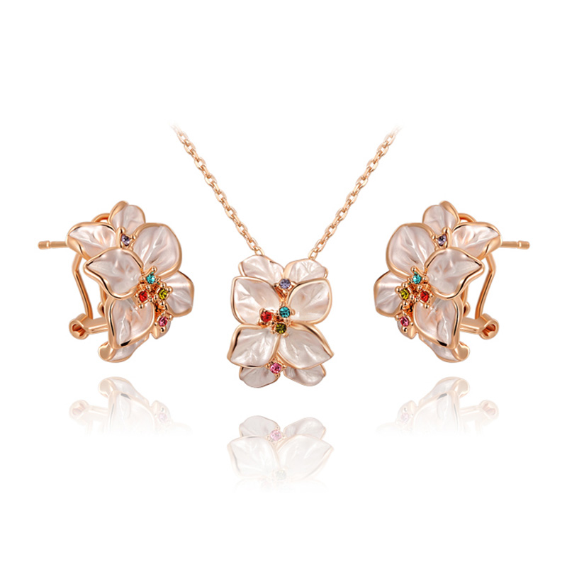White Petal Crystal Pistil Flower Set