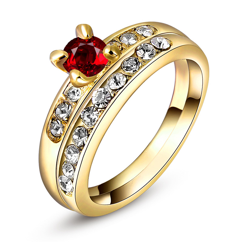 Yellow Gold Ruby Wedding Ring Set