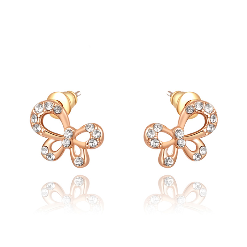 Bowknot Rose Gold Stud Earrings