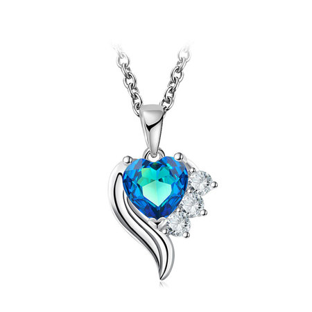 Angel's Wings Heart Sapphire Necklace