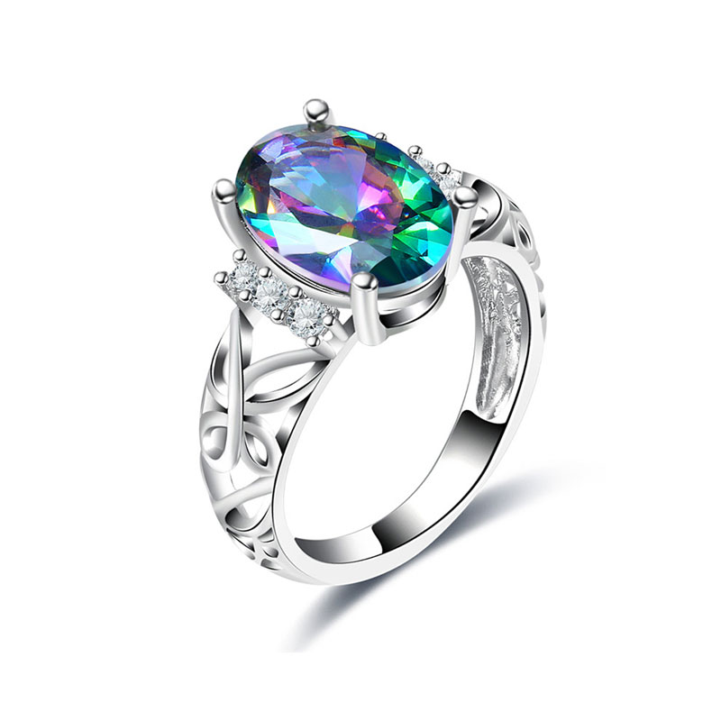Oval Colorful Diamond Butterfly Ring