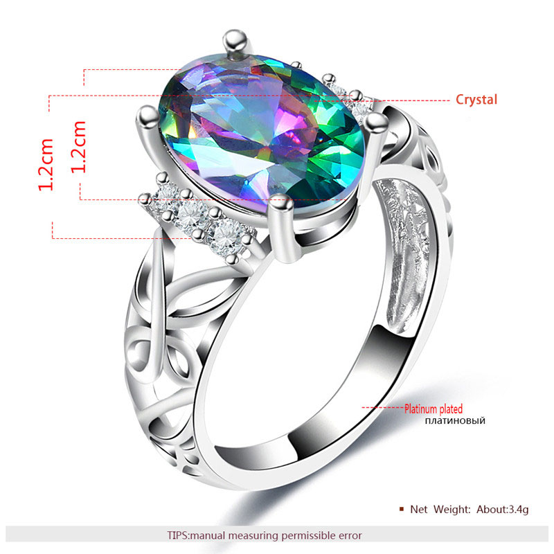 Oval Colorful Diamond Butterfly White Gold Ring