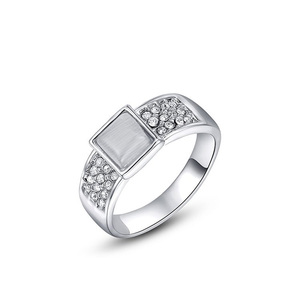 Square Opal White Gold Ring