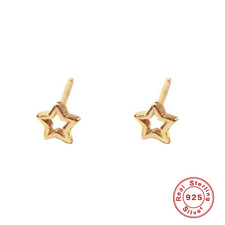 Five-Pointed Star Sterling Silver Stud Earrings