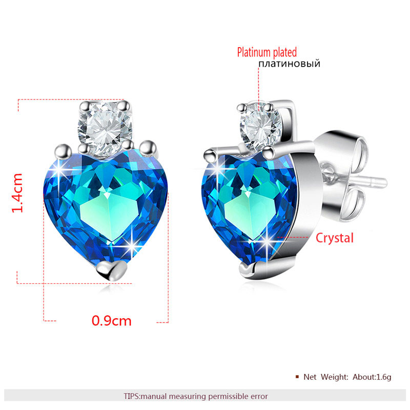 Heart Sapphire White Gold Set - Earrings
