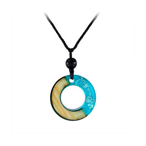 Circle Blue Resin Silver Foil Necklace