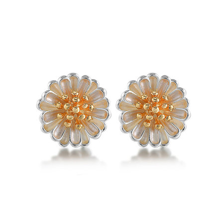 Daisy Two-Tone Stud Earrings (18K Gold + Silver)