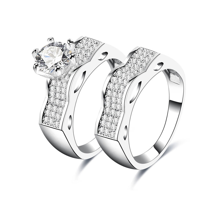 Laciness White Gold Diamond Couple Rings