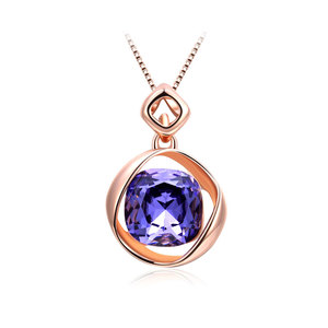 Cushion Amethyst Rose Gold Necklace