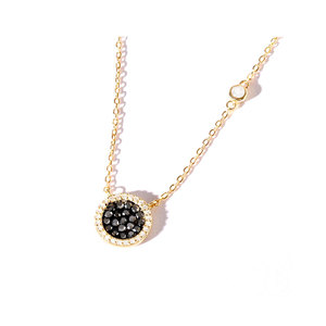 Black Diamonds With Halo Sterling Silver Pendant
