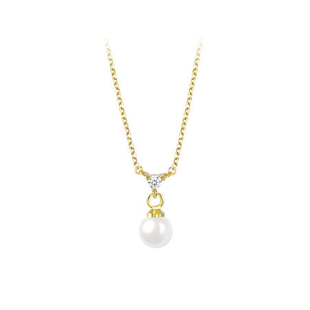 Stylish Pearl & Zirconia 18K Gold Necklace